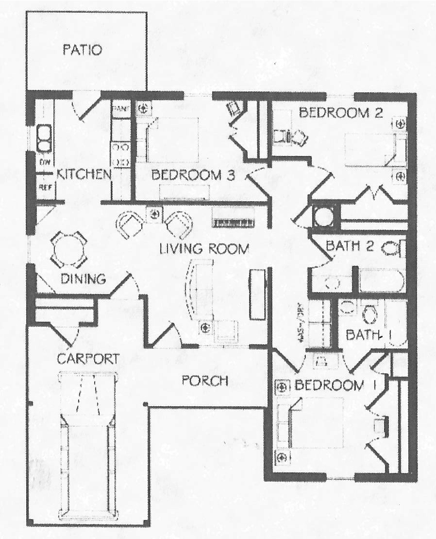 Three Bedroom / Two Bath - 1,128 Sq.Ft.*
